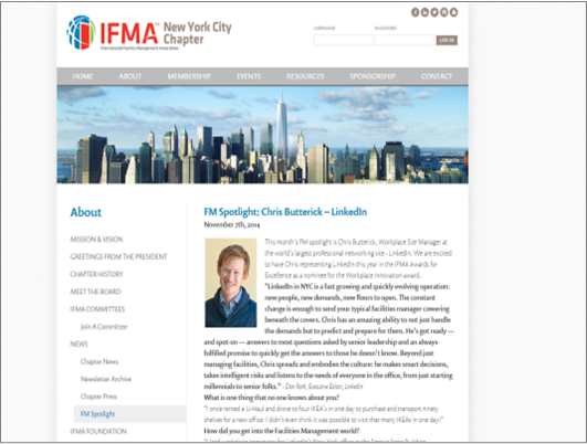 IFMA NYC Chapter Chris Butterick, LinkedIn as a Nominee for